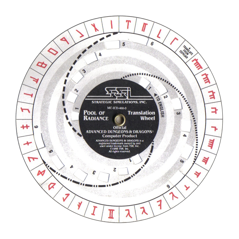 image about Printable Decoder Wheel identified as Pool of Radiance - Translation Wheel Code Wheel on line