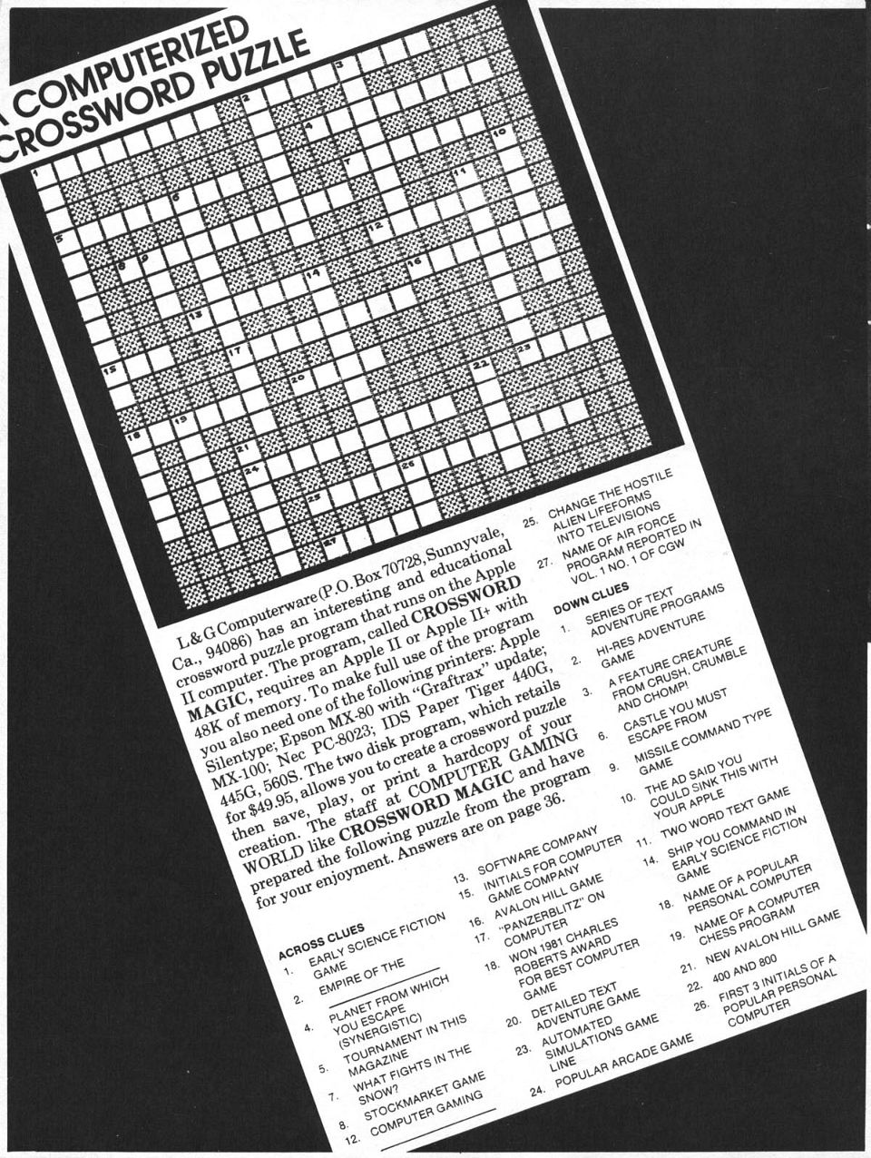 A Computerized Crossword Puzzle