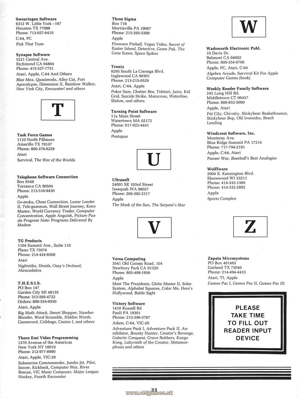 Directory of Game Manufacturers: T-Z