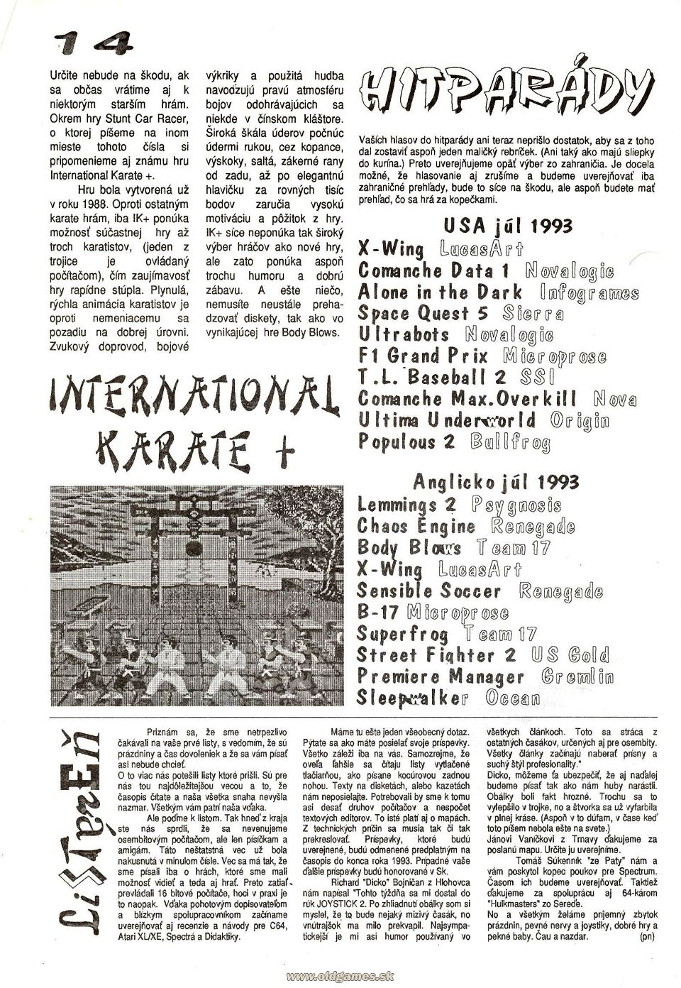 International Karate +, Hitparáda