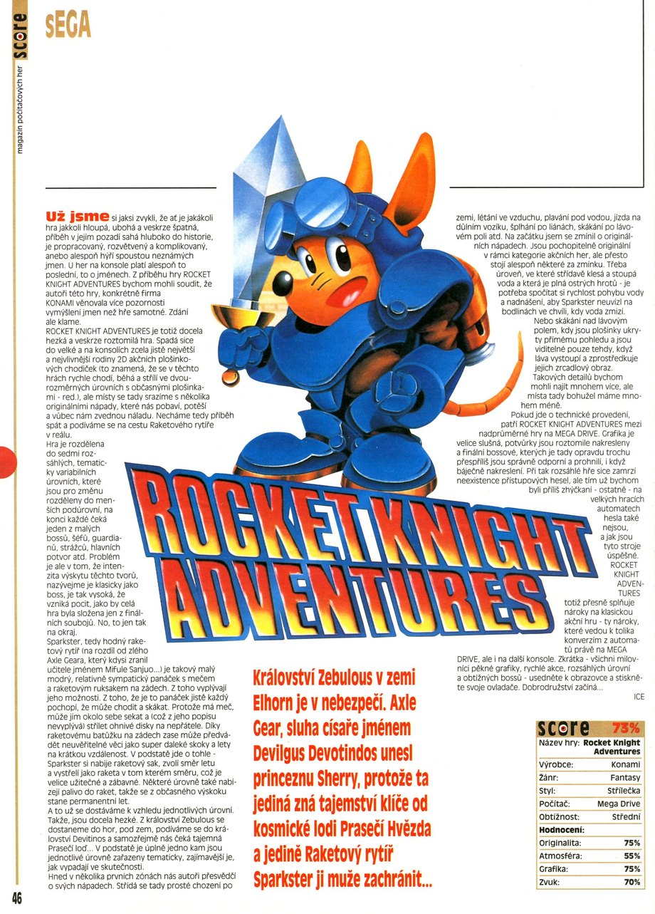 Rocket Knight Adv., Sega