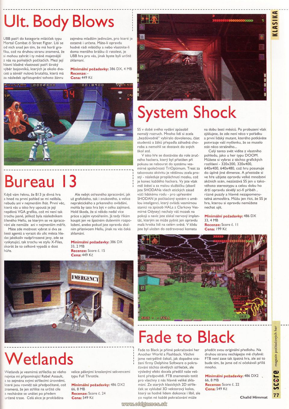 Klasika: Ultimate Body Blows, System Shock, Bureau 13, Wetlands, Fade to Black
