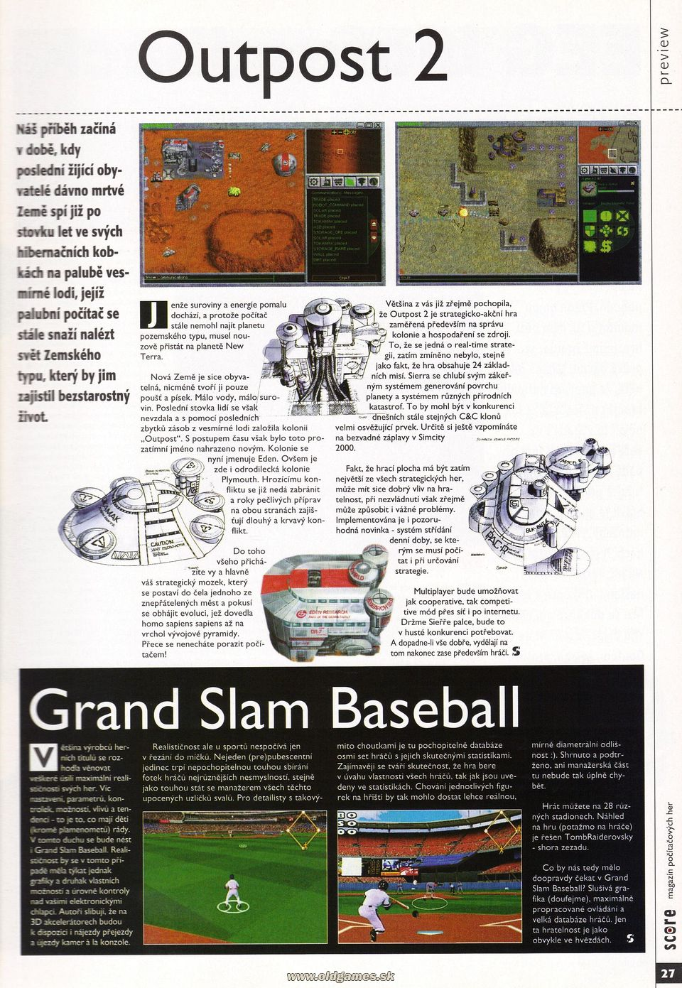 Preview: Outpost 2, Grand Slam Baseball