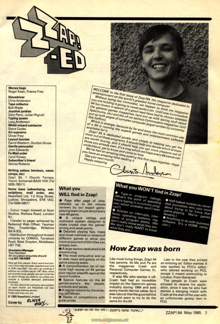 Zzap ED, Welcome