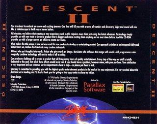 Descent 2- CD Box scan - Back
