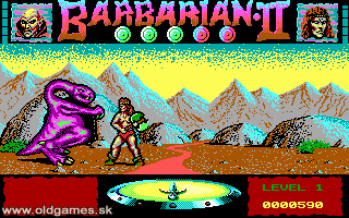 PC, Barbarian face to face purple Dragon...