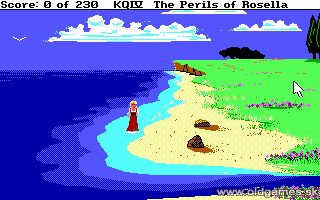 King's Quest IV: The Perils of Rosella - PC (SCI), Start game on a beach...