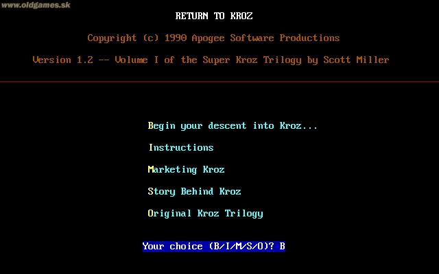 Return to Kroz, Main Menu