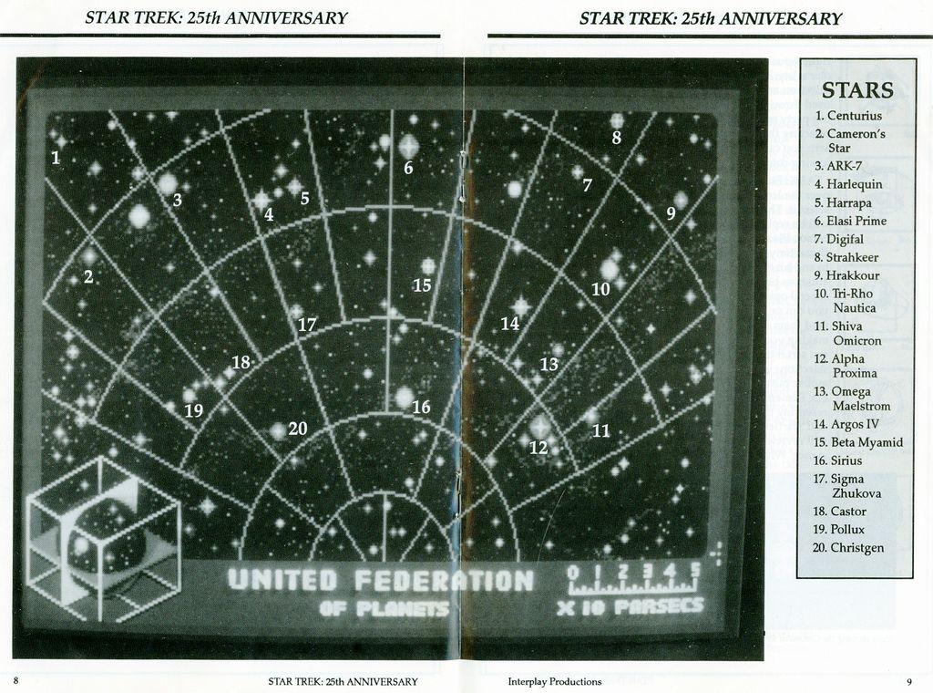 Star Trek 25th Anniversary Star Map Scan From Game Manual Jpg