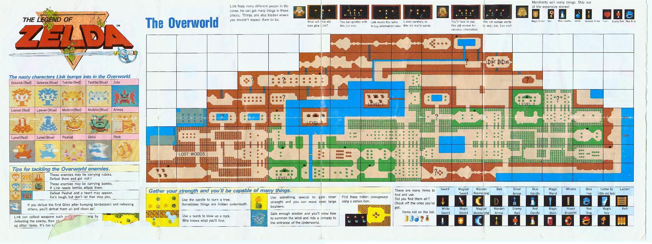 Legend Of Zelda The The Overworld Map For Nes Original