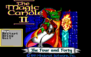 Magic Candle II, The: The Four and Forty - Title, Main menu