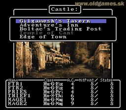 SNES, Wizardry 1 - Main menu (en)