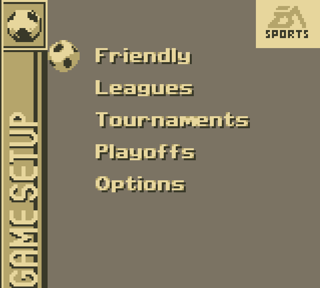 FIFA 96 GameBoy Main Menu