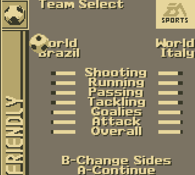 FIFA 96 GameBoy Team Selection