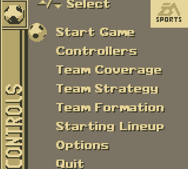 FIFA 96 GameBoy Before Game Menu