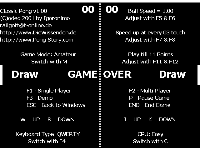 Classic Pong 1.0, Title