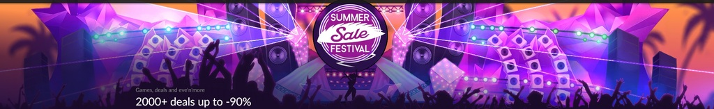 Summer Sale Festival on GOG.COM with game collections, flash deals, and discounts up to -90%